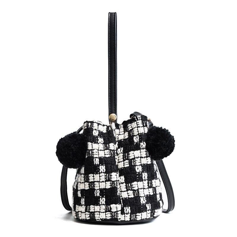 Woolen Women Messenger Bucket Bags PU Leather Small Shoulder Ladies Girls Handbags Crossbody Bags-45