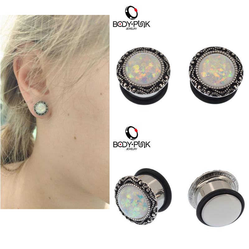 BODY PUNK White Opal Vintage Tapones para los oídos Piercing Body Jewelry Acero inoxidable Single Flared Summer Gauge Flesh Tunnel 6-16mm