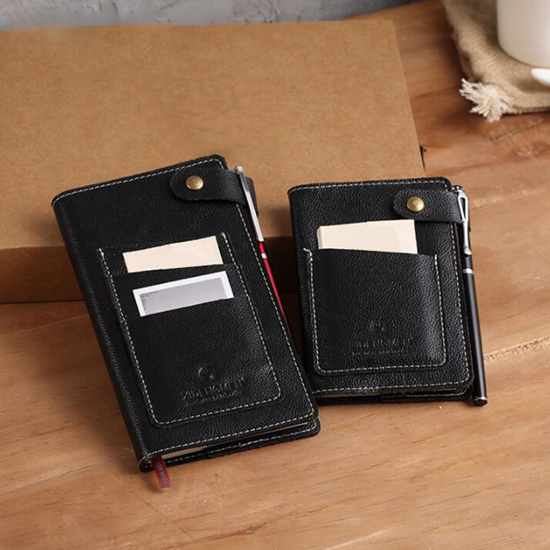 Genuine leather Logo Custom A5 Diary Notebook Travelers Writing Pads Mini A7 Notepad with Pocket Office Planner School Office free logo custom leather a5 notebook mini writing pads binder loose leaf diary office school mini a6 pu notepad with rings