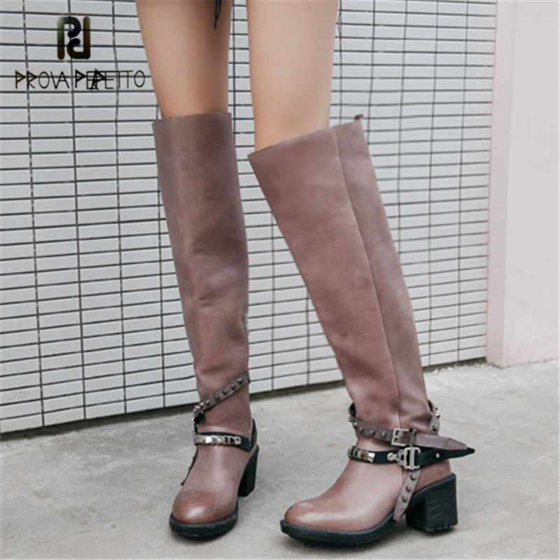 Prova Perfetto Women Over The Knee Boots Straps Chunky High Heel Botas Mujer Thigh High Boots Autumn Winter Rubber Boot все цены