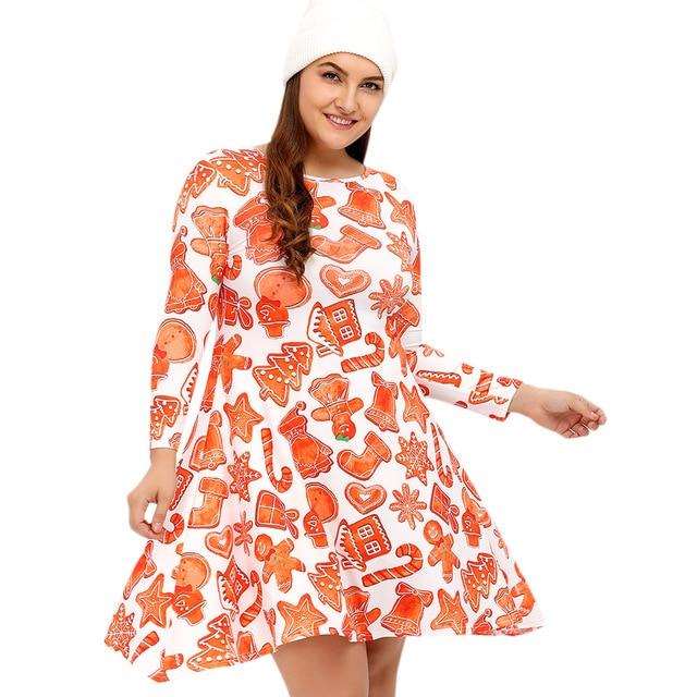 4f1c507390bae Gamiss Autumn Winter Plus Size L-4XL Dress Women 3/4 Length Sleeves  Christmas Print Graphic Swing Dress Casual Dresses Vestidos