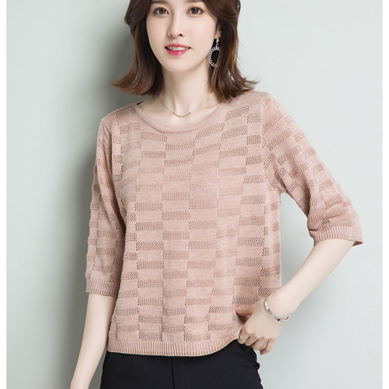 2019 Summer Short Sleeve Pullover Fashion Knitted Tops Women Thin Ladies Pull O-Neck Ladies Pullovers And Sweater Female