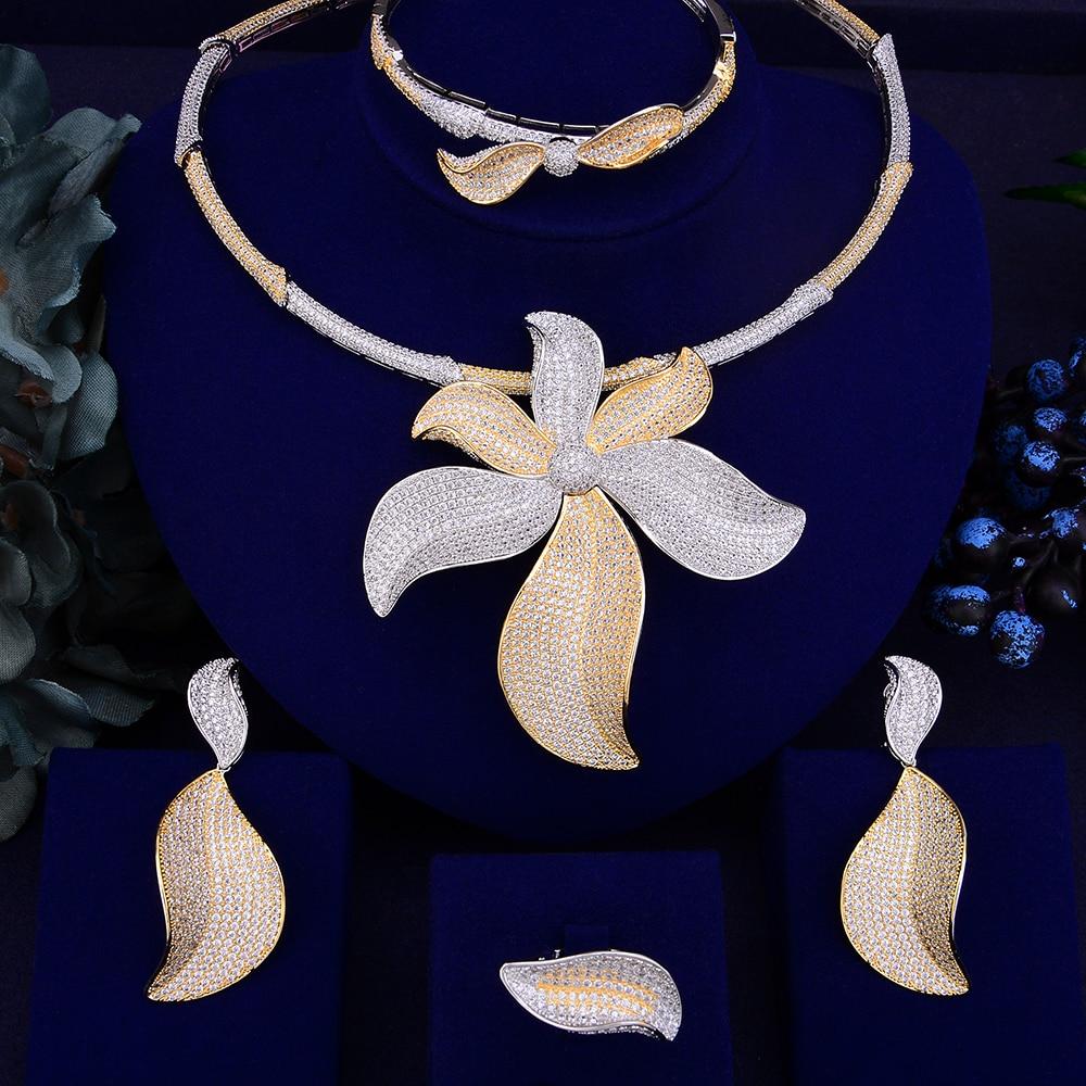 GODKI Trendy Luxury Big Flower African Necklace Earring Jewelry Set For Women Wedding Full Cubic Zircon