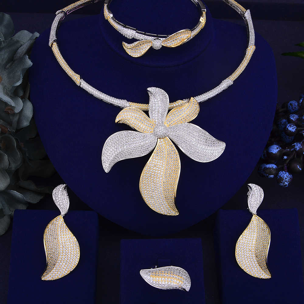 GODKI Trendy Luxury Big Flower African Necklace Earring Jewelry Set For Women Wedding Full Cubic Zircon Dubai Bridal jewelry Set