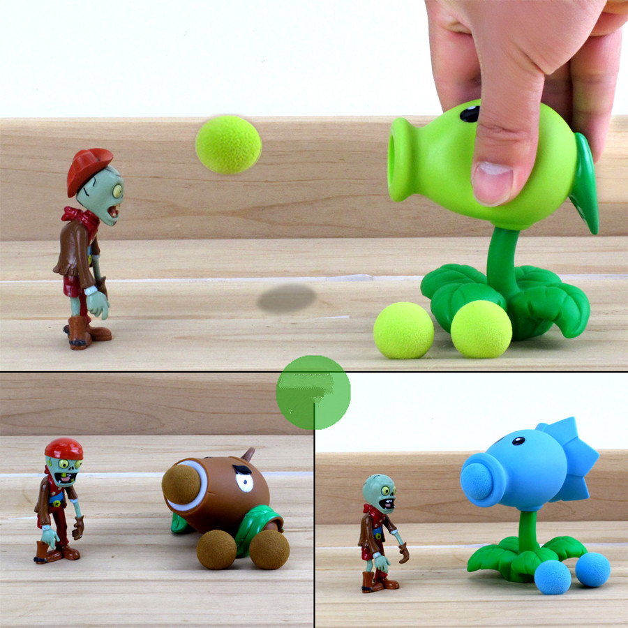 Plants vs Zombies Action Figure Toys For Children Parent-Child Interactive Toy Pea Shooter Red Chilli Birthday Gifts image