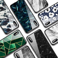 IIOZO Glass Case For iPhone X XS MAX XR 6 6S 7 8 Plus Phone Cases Tempered Marble Flower Pattern Cover Max