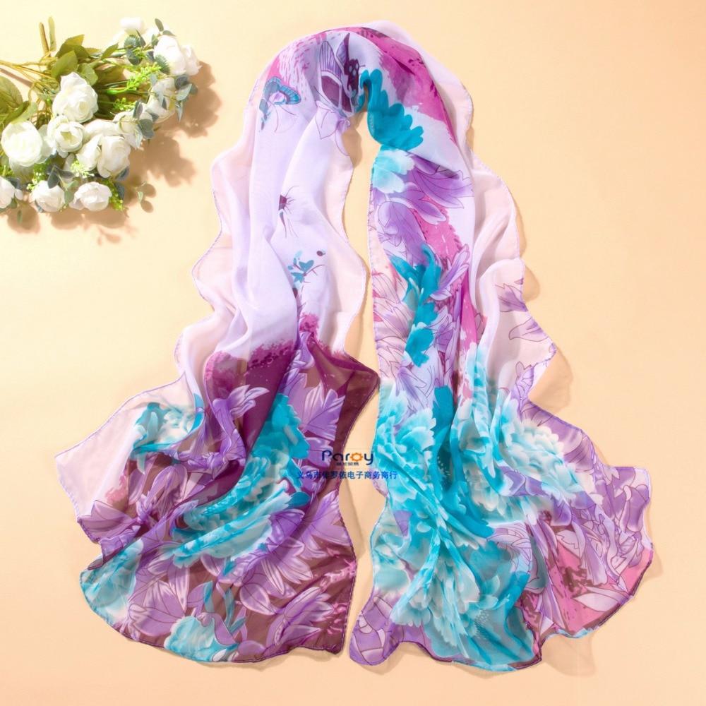 New Arrival 2018 Spring And Autumn Chiffon Women Scarf Print Geometric Pattern Design Long Soft Silk Shawl