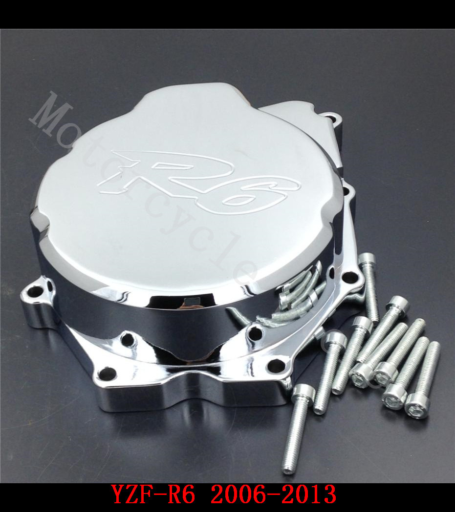 For Yamaha YZFR6 YZF-R6 2006 2007 2008 2009 2010 2011 2012 2013 2014 Motorcycle Engine Stator cover Chrome left side laser logo fz6 for yamaha fz6 fazer 2006 2010 2007 2008 2009 cnc motorcycle frame crash slider protector drop resistance