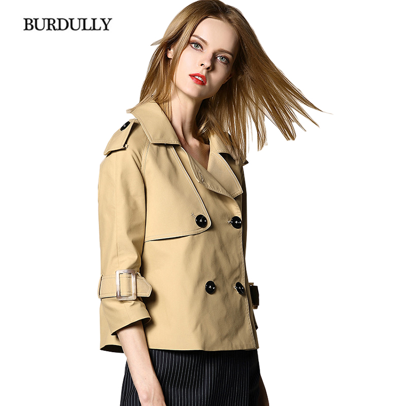BURDULLY England Style Women Winter   Trench   Coat Short 2018 Slim Wadded Elegant Casaco Feminino Abrigos Mujer Autumn Outerwear