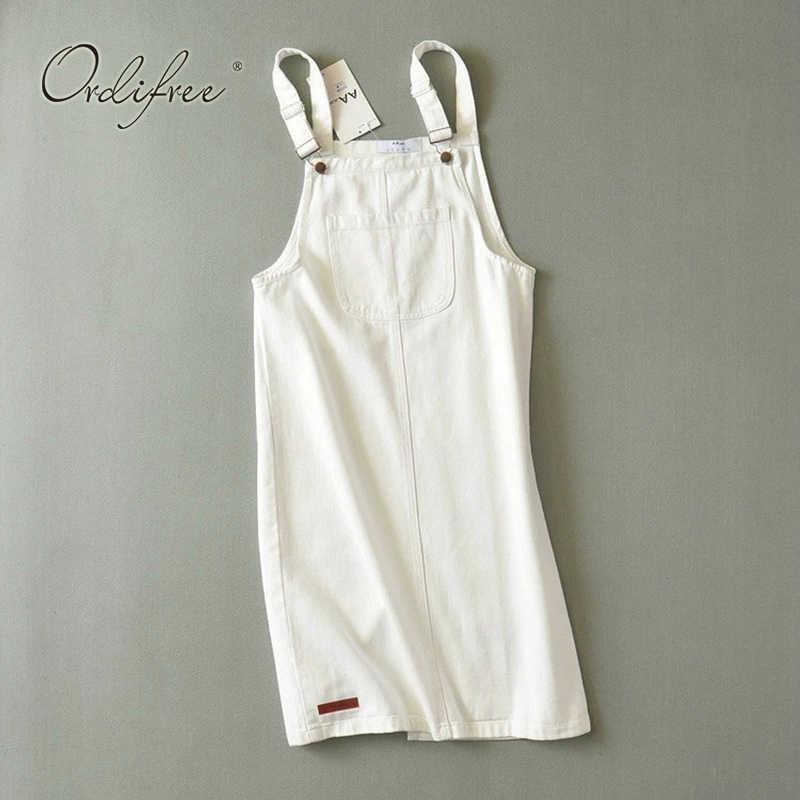 Ordifree 2019 Лето Осень женское джинсовое платье Сарафан повседневное джинсовое платье комбинизон с лямками хлопковое Белое Женское джинсовое платье
