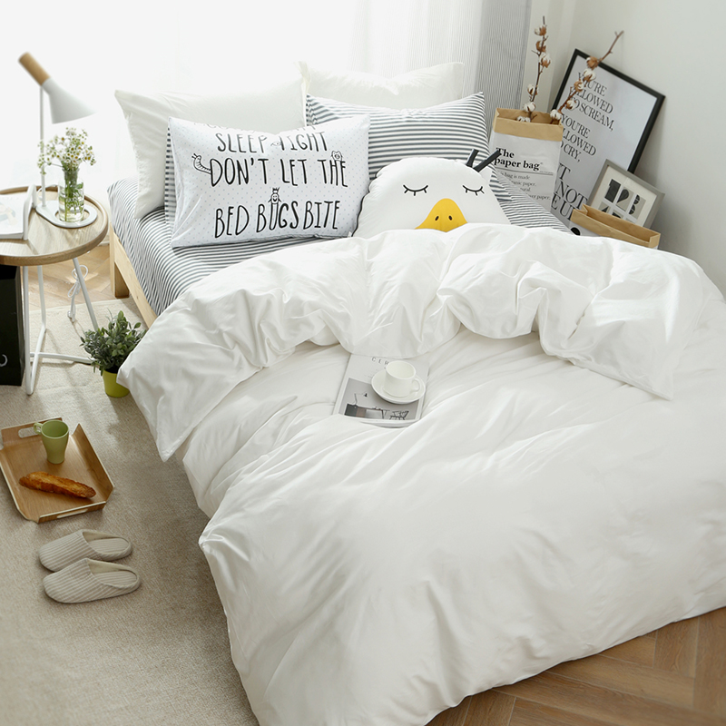 White Grey 100%Cotton Single Double Bedding Set Twin Queen King size Kids Adults Bed set Duvet Cover Bed sheet set bedlinen