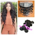 Silk Base Frontal with Bundles Natural Black 8A Brazilian Virgin Hair Body Wave 13x4 Silk Top Frontal with Human Hair Weave