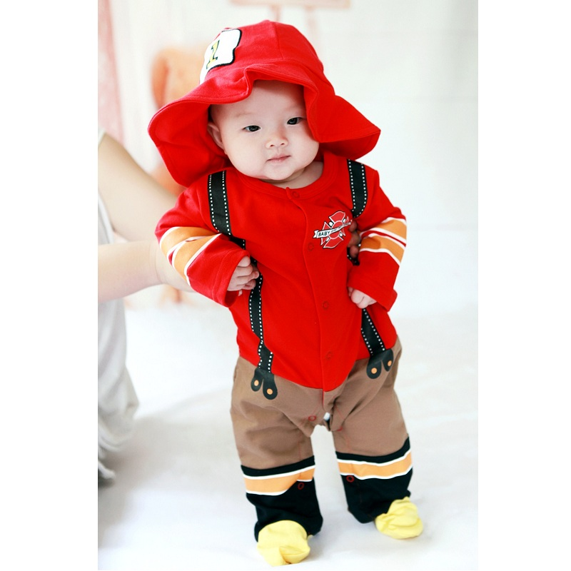 2017 New Jumpsuits letter Fireman Baby Boy Clothes lovely 100% Cotton Newborn Romper + Hat Top Quality Infant Fashion Costumes 2017 new baby romper 100