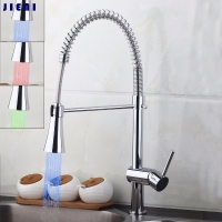 YANKSMART Kitchen Faucet Deck Mounted Washbasin LED Mixer Taps Solid Brass Washbasin Sink Mixer Taps Torneira