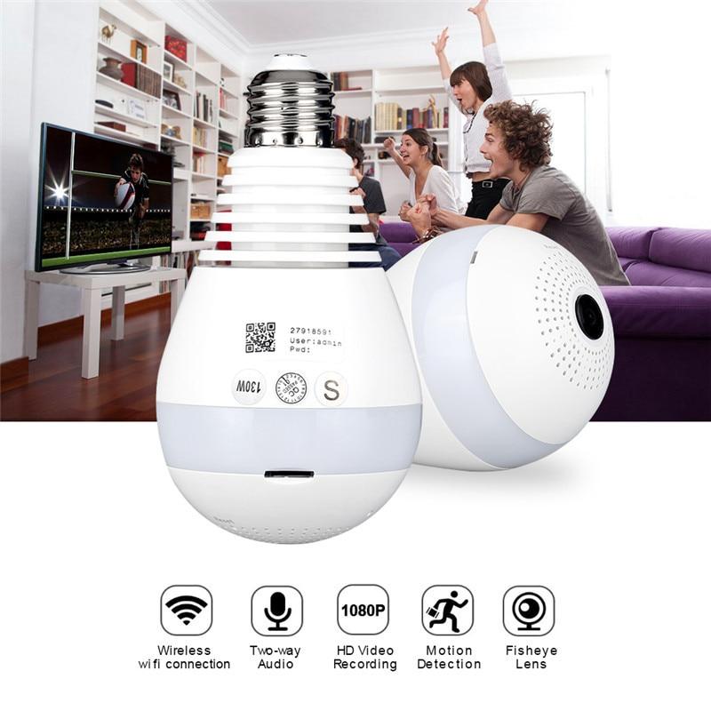 AGM LED ampoule lumière WiFi caméra Fisheye 960 P sans fil panoramique sécurité à domicile CCTV IP caméra 360 degrés nuit Vision lampe E27