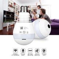 AGM LED Bulb Light WiFi Camera Fisheye 960P Wireless Panoramic Home Security CCTV IP Camera 360 Degree Night Vision Lamp E27