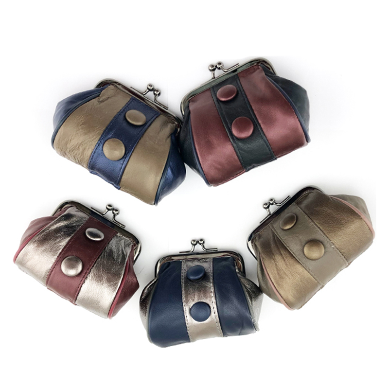BELLO TUTTI Genuine Leather Women's Coin Purse Patchwork Mini Wallets Metal Frame Female Girls Change Purse Small Coin Bag