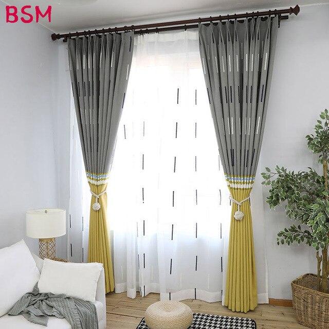 Modern Split Joint Living Room Curtains Bedroom Yellow Gray Window