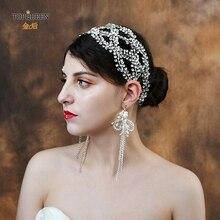 TOPQUEEN الفاخرة العروس عقال الزفاف غطاء الرأس Pamelas و أغطية الرأس لحفلات الزفاف حجر الراين الزفاف تيارا التسليم السريع HP243