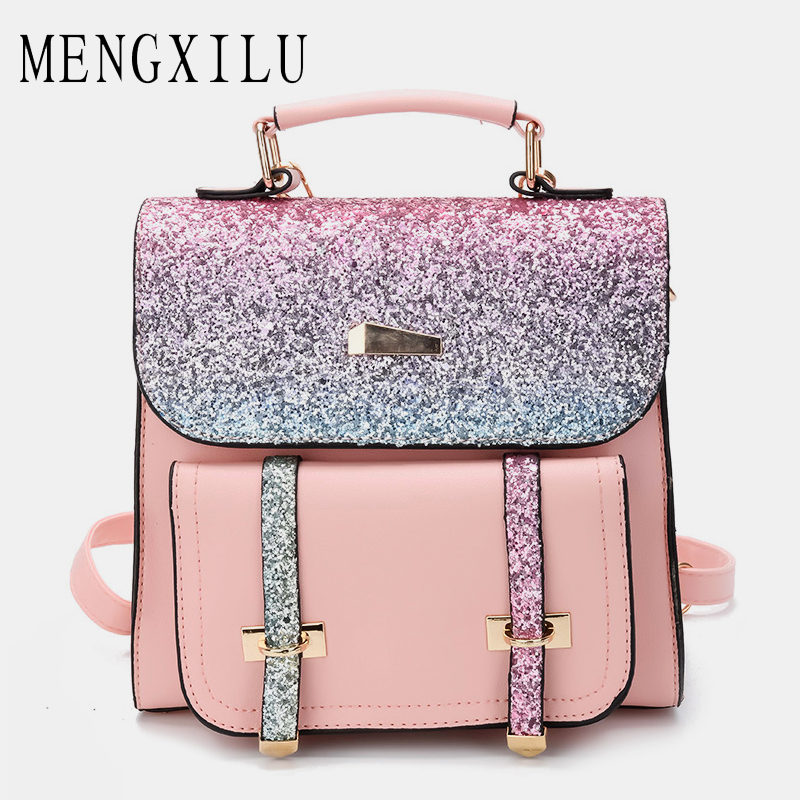MENGXILU Sequin Backpack Women Backpacks Summer Small Cute Candy Pu Leather Backpack Bling School Bags Female 2018 New Fashion