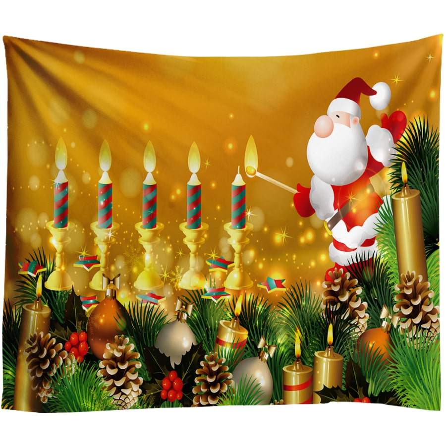 Christmas Ball Decoration Tapestry Paintings for Living Room Wall Cloth Tapestries Golden Candle Wall Rug Hanging Carpet 10color in Tapestry from Home Garden