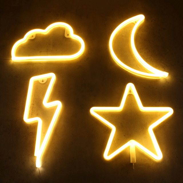 Warm White Art Sign Cloud Flash Moon Star Neon El Light Battery Led Holiday Home