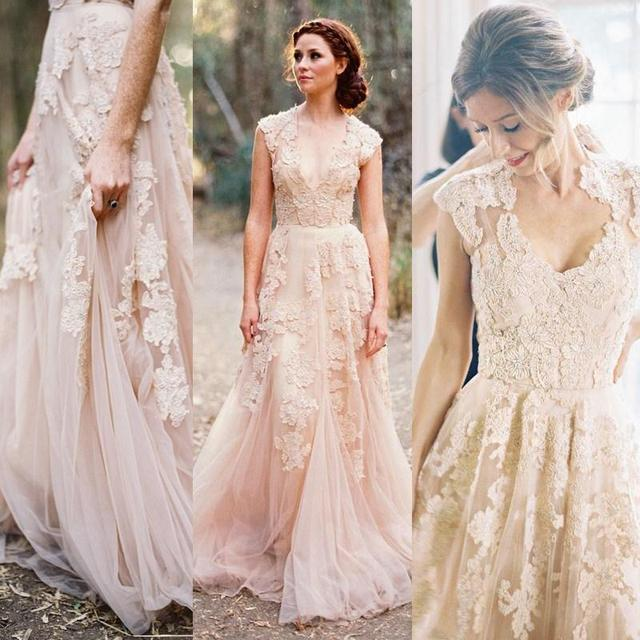 54ee9be4ef8 2015 Fashion sheer v neck lace applique blush wedding dresses elegant cap  sleeves bridal Gowns V neck wedding women dresses F009