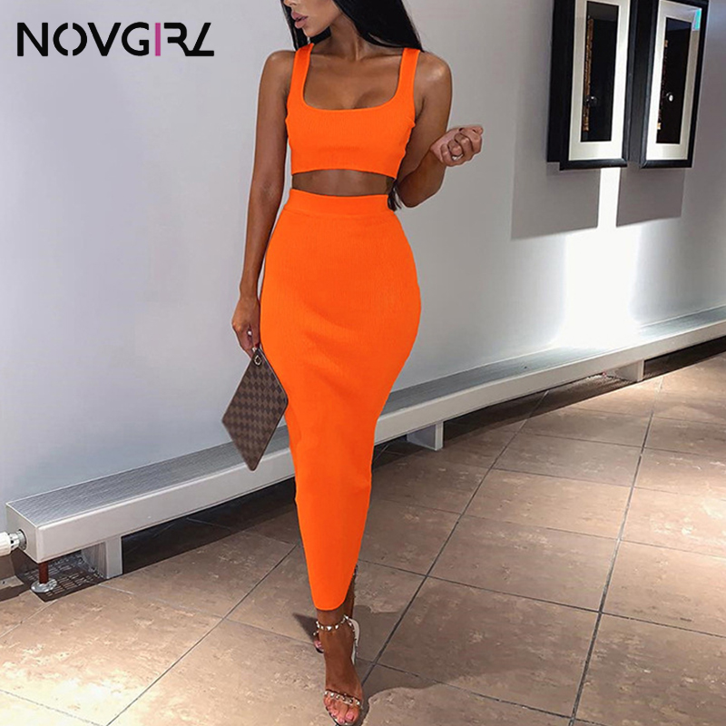 Novgirl Knitted Ribbed Two Piece Dress Women Summer Set Club Party Neon Green Bodycon Sexy Midi Dress Vintage Beachwear Vestidos