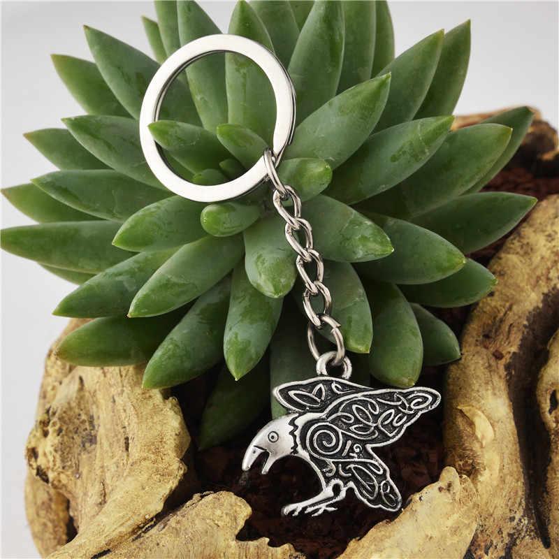 Pájaro Totem colgante llavero Vintage nórdico vikingo Odin Cuervo talismán mejor amigo joyería