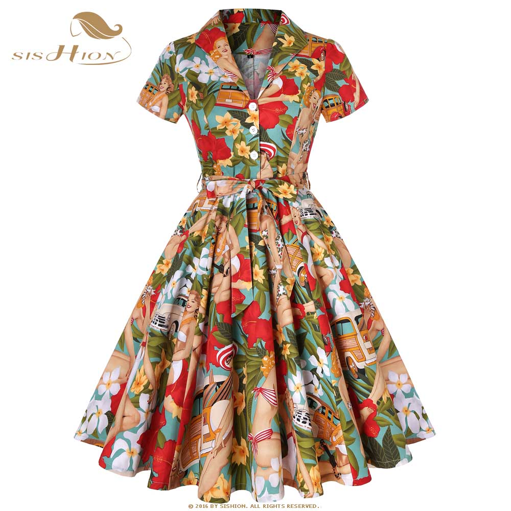 US $27.3 10% OFF|SISHION 50s 60s Retro Vintage Dress Short Sleeve Car and  Beauty Pattern Floral Print Elegant Women Plus Size Autumn Dress SD0002-in  ...