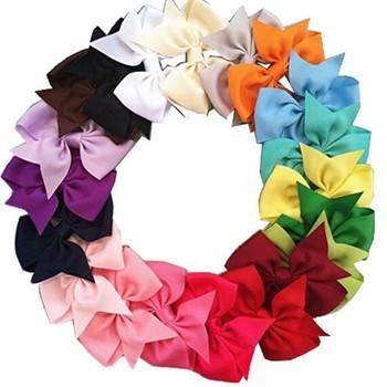 20Pcs/Lot Kids Girls Hair Bows Brand Fashion Boutique Alligator Clip Grosgrain Ribbon Candy Color Girls Headband 20pcs lot 15n06 90