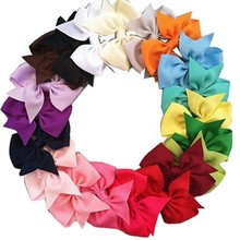 20Pcs/Lot Kids Girls Hair Bows Brand Fashion Boutique Alligator Clip Grosgrain Ribbon Candy Color Girls Headband
