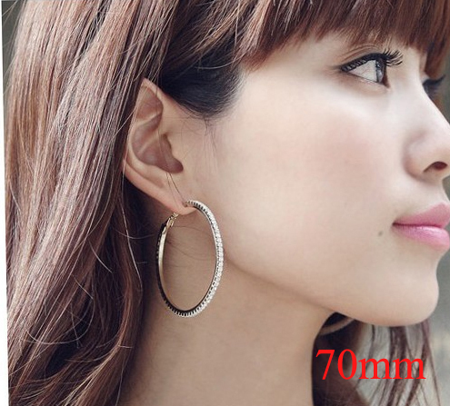 70mm Hoop Earrings Silver Plated Paparazzi Basketball Wives CZ Crystal Rhinestone 12pairs/lot Free Shipping