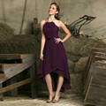 2016 Chiffon Bridesmaid Dresses Halter sleeveless Party Dresses High/Low Bridesmaid Gown Vestido