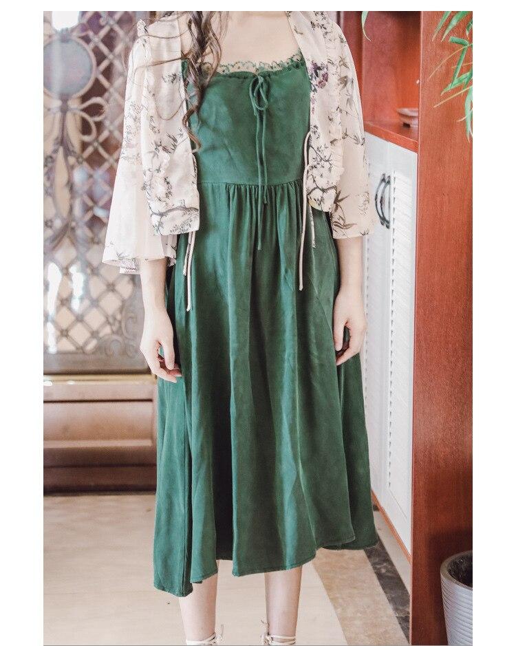 Ubei Новое поступление летнее винтажное кружевное платье без бретелек с шифоновой рубашкой с высокой талией Зеленое Длинное Платье на подтяжках модные комплекты