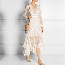 2017 new spring palace deep V collar lace embroidery irregular long sleeved fairy dress dress