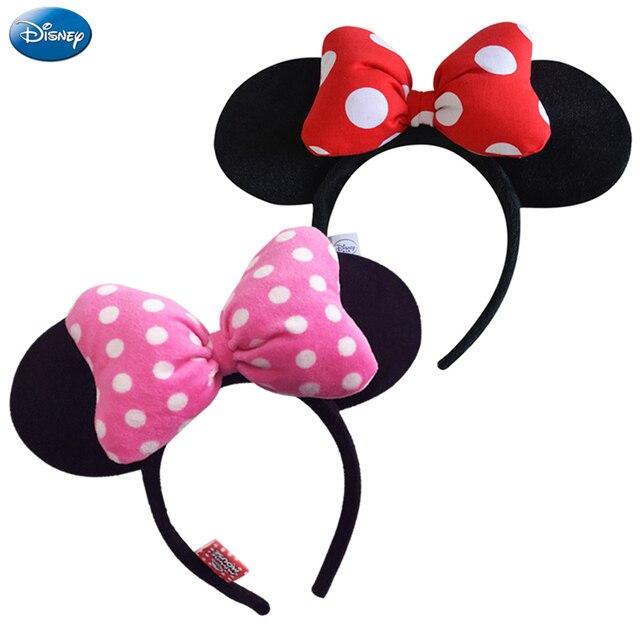 Disney Original Headdress Head Hoop Mickey Minnie Mouse Ears Girls Hair Bands Head Hoop Plush Toys Bag Keychain For Children