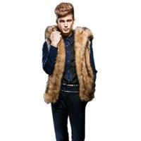 Men Faux Fur Vest Sleeveless Winter Warm Hooded Brown Colour Coat