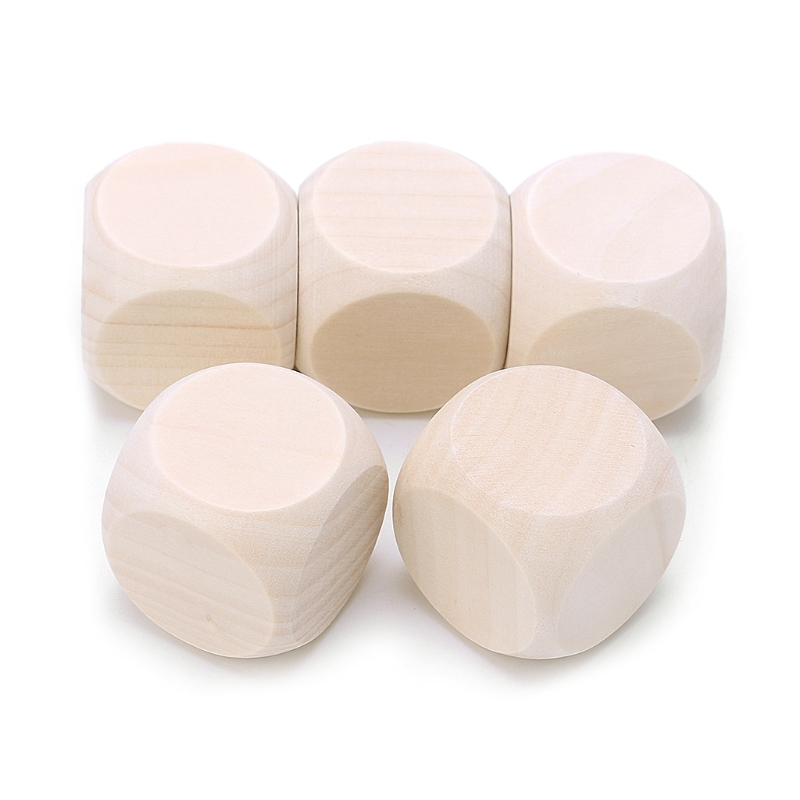 5pcs 20mm 25mm 30mm Blank Wood Dice Kid Printing Engraving Graffiti DIY Toys Family Party Games