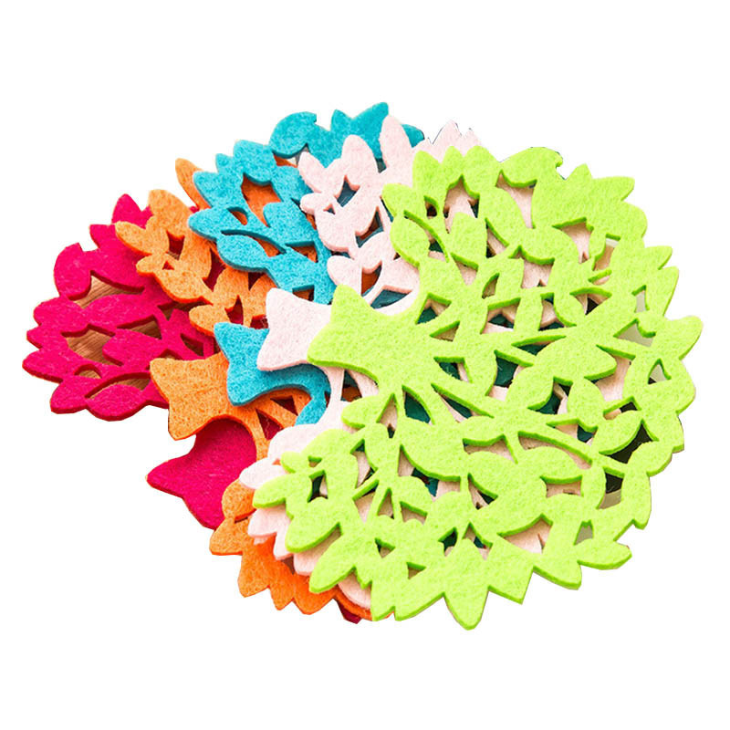 5PCS/Lot Felt Drinks Holder Mat Placemats Big Tree Colorful Cup Coaster Holder Table Accessories #20