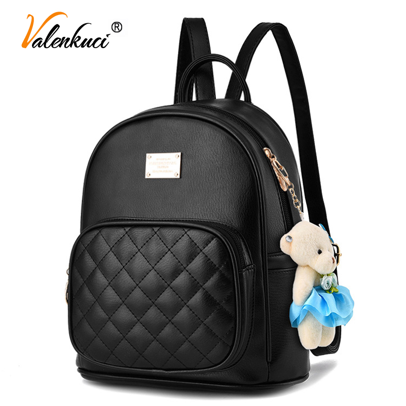 Valenkuci fashion 2017 women backpacks fashion leather lady black backpack high quality girls travel school bag BD-199 women backpack fashion pvc faux leather turtle backpack leather bag women traveling antitheft backpack black white free shipping