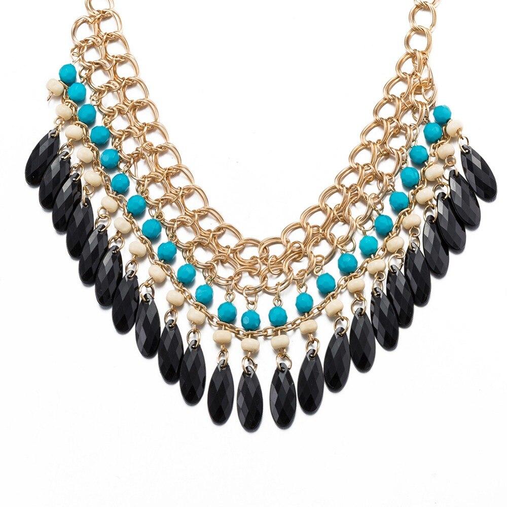 Retro Bohemia Beaded Geometry Ladies Necklaces Rhinestone Tassel Chain Necklaces Choker For Women Boho Jewelry collier boheme