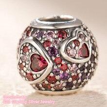 100% 925 пробы Серебряный ассиметричный сердечко любви, красный и розовый CZ, оригинальный брендовый браслет