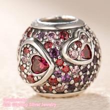 Dia dos namorados 100% 925 prata esterlina assimétrica corações de amor charme, vermelho & rosa cz caber marca original encantos pulseira