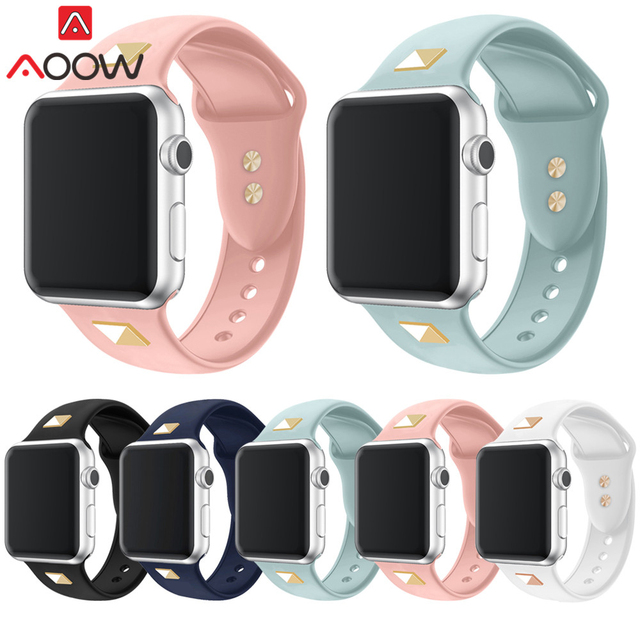 Soft Silicone Watchband for Apple Watch 38mm 40mm 42mm 44mm Gold Rivet Rubber Replacement Bracelet Band Strap for iWatch 1 2 3 4