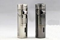 LUBINSKI Top-Grade Quatre flamme Droite Coupe-Vent Gris et Blanc gaz Cigare briquets avec poinçon