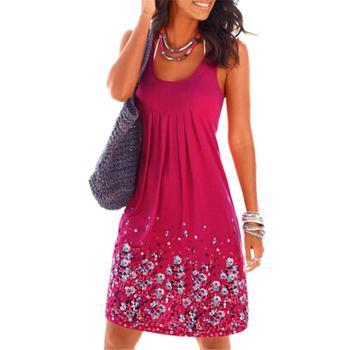 ed74e661a7b Для женщин без рукавов Цветочный Принт Свободные Большой Размеры летнее  платье пляжное платье Праздник повседневные платья