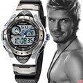 Moda masculina Esporte Militar Relógio de Pulso 2016 Novos Relógios Homens Marca De Luxo 10ATM 100 m Dive LED Digital Analógico Quartz Relógios