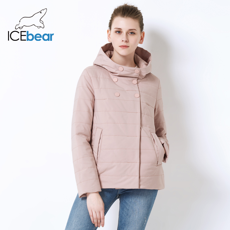 ICEbear 2019 women spring hooded warm coat cotton padded jacket female short   parka   coats Short Female Slim Cotton GWC82117D