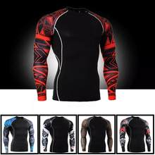 Mens Compressie Shirts 3D Wolf Tiener T-shirts Lange Mouw T-shirt Mannen Lycra MMA Gym training T Shirts Merk Kleding panty(China)